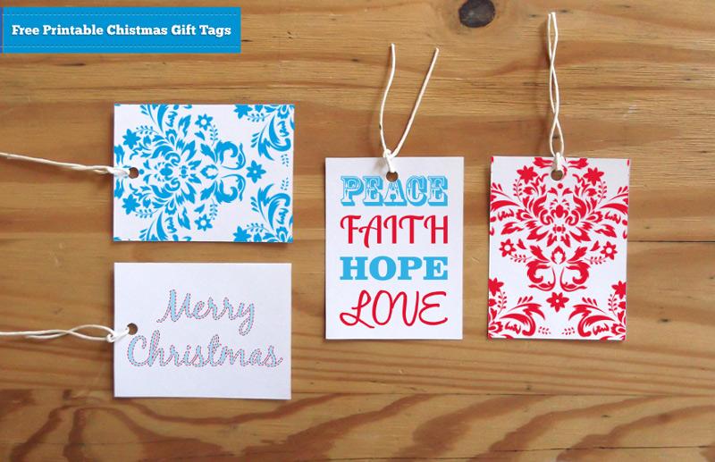 Free Printable Christmas Gift Tags - Red and Blue