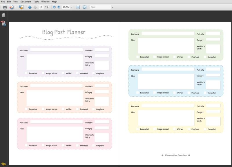 printable blog post planner pdf clementine creative printable planners. Black Bedroom Furniture Sets. Home Design Ideas
