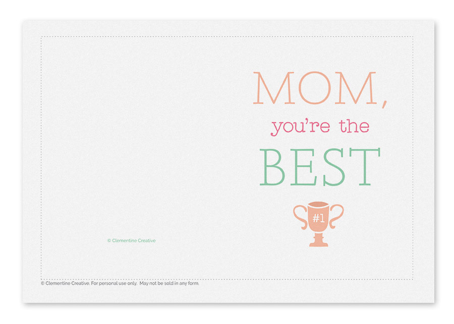 printable mothers day card for the best
