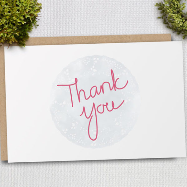 printable thank you card with doily