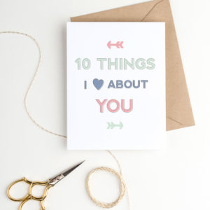 10 things I love about you Valentine's card