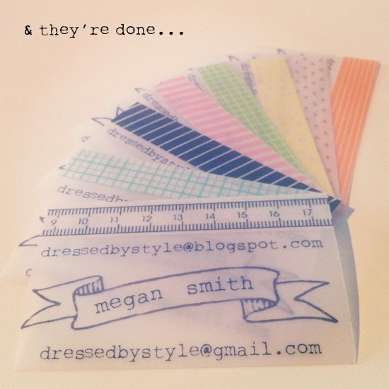 washi tape business cards