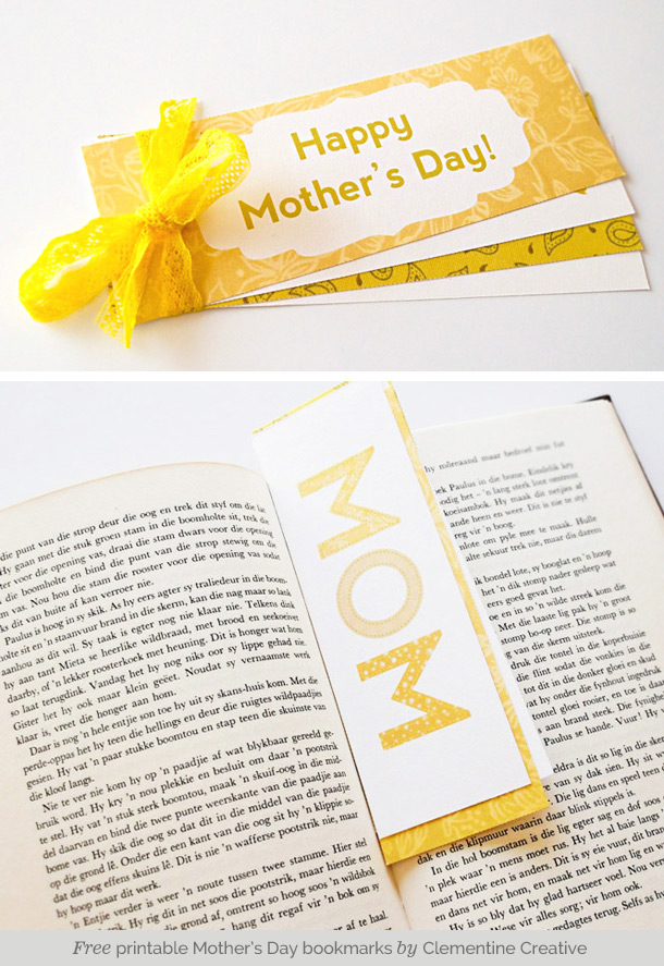 Free printable Mother's Day bookmarks from Clementine Creative