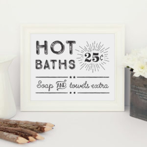 printable retro bathroom sign