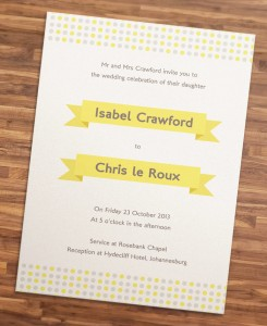 DIY printable wedding invitation template yellow and grey