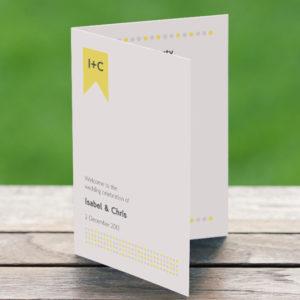 DIY printable yellow wedding program