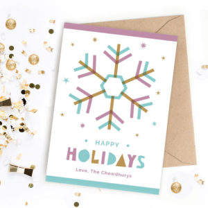 printable snowflake holiday greeting card