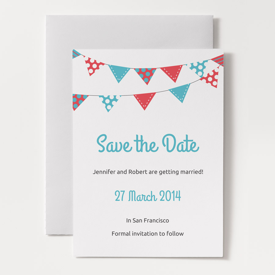 bunting printable wedding save the date template