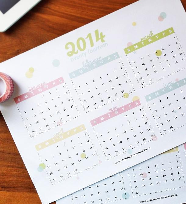 free pretty 2014 printable calendar