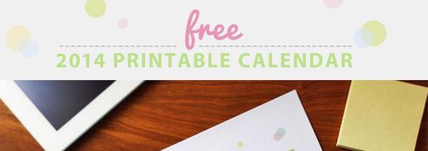 free pretty printable 2014 calendar
