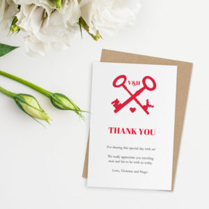 red keys printable thank you card template