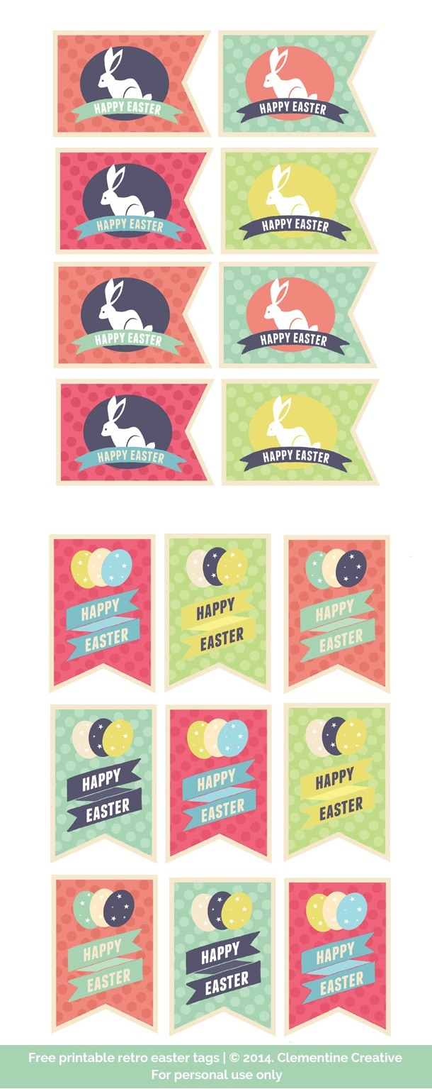 free printable retro easter tags