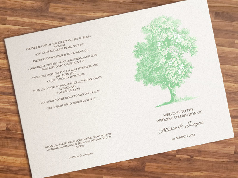 DIY Printable Wedding Program Template - Vintage Tree
