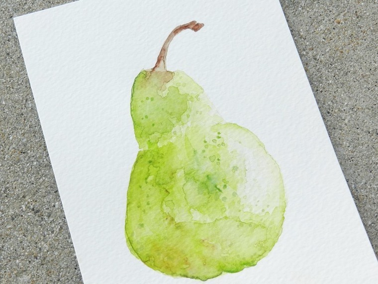 how to paint a watercolour pear