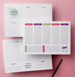 printable weekly planner pages set