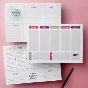 printable weekly planner pages set