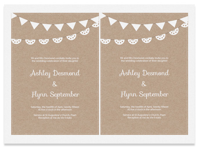 Kraft Paper Wedding Invitation Template. Free Kraft Paper Wedding Invite