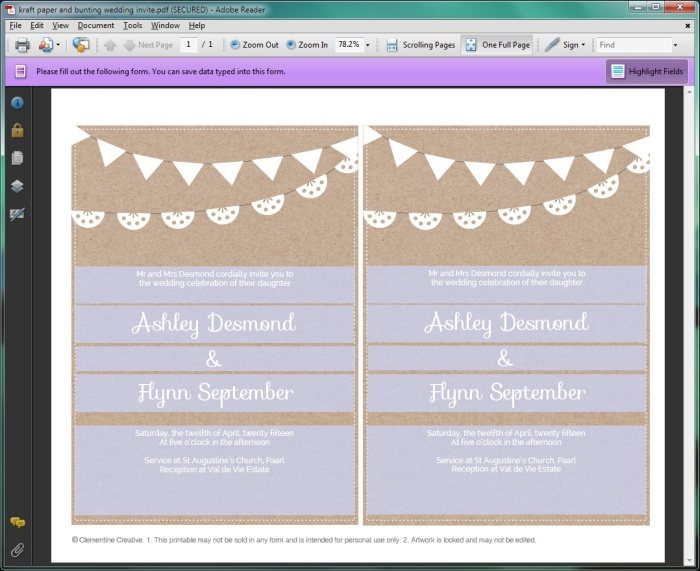 Free Printable Wedding Invitation Template Kraft Paper