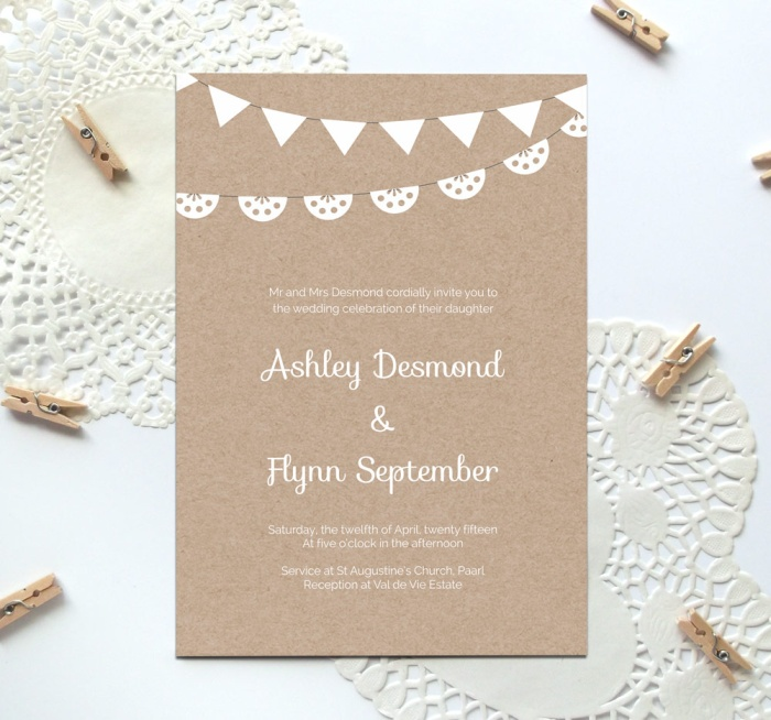 Beau Free Kraft Paper Wedding Invite Template