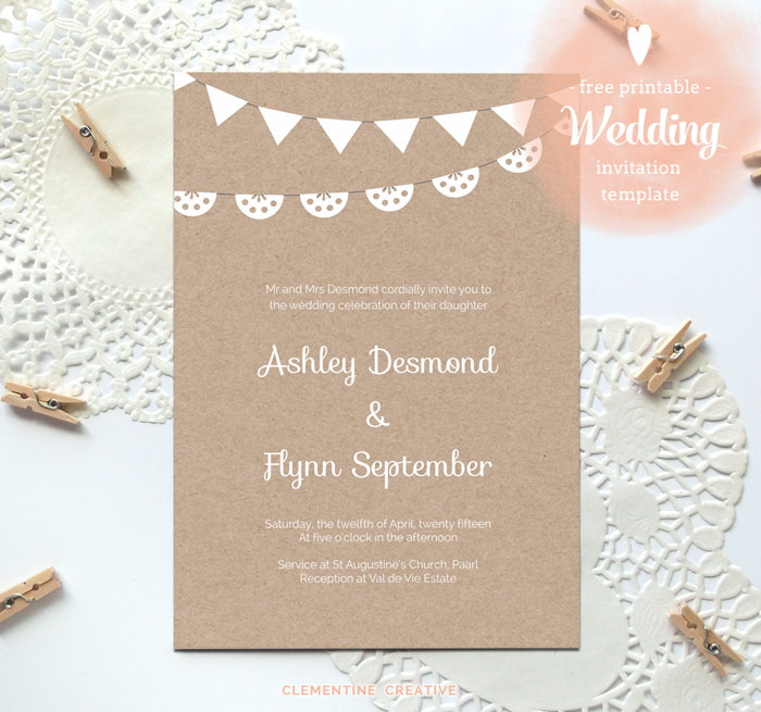 free printable wedding kraft paper invitation template