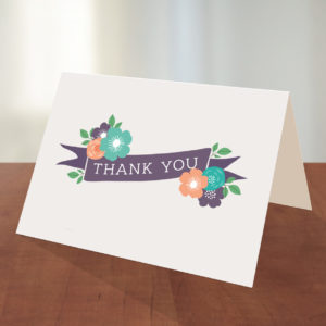 printable thank you card with floral ribbon