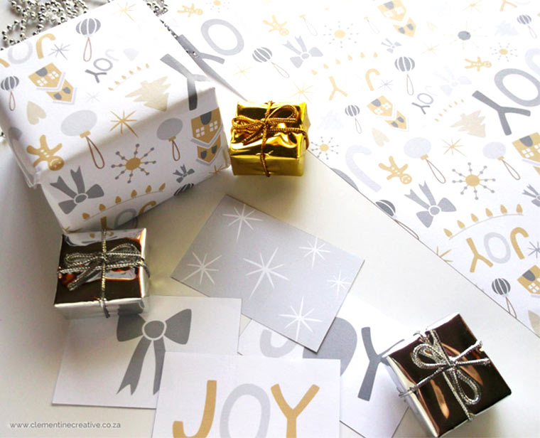 cute christmas wrapping paper printables