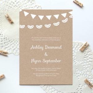 free printable kraft paper wedding invite