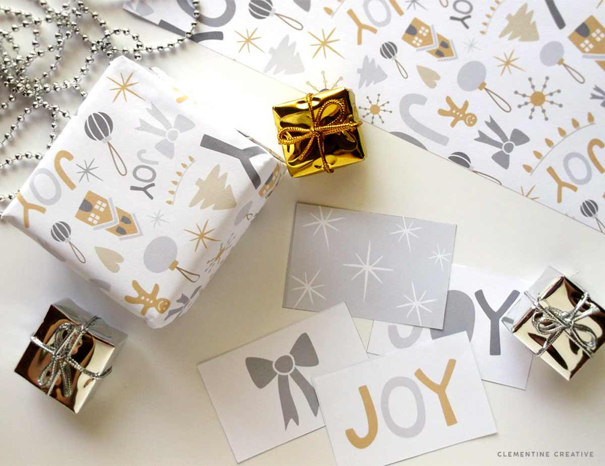 free printable christmas wrapping paper and tags