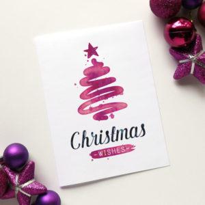 printable watercolour christmas card