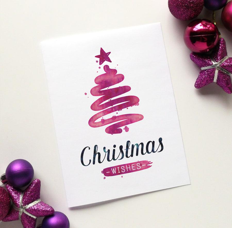Diy Christmas Cards Printable Christmas Card Watercolour Fun