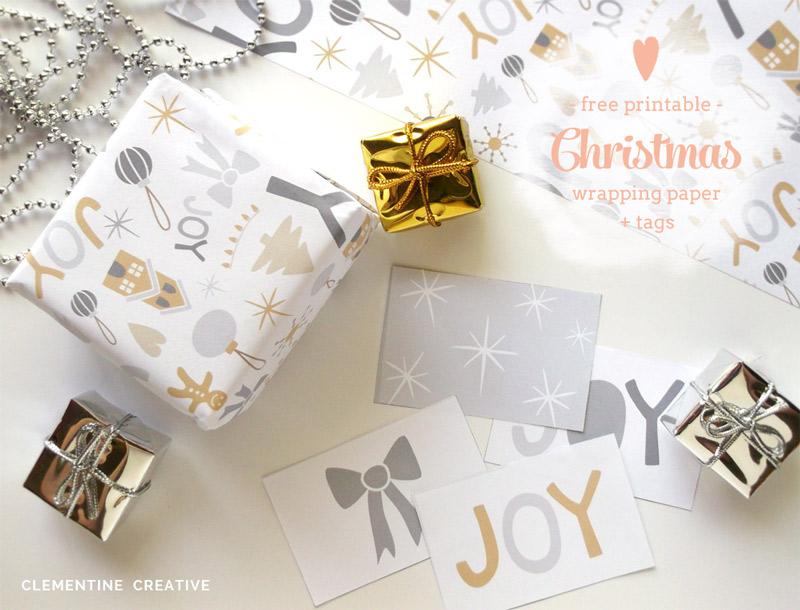 printable christmas wrapping paper and tags