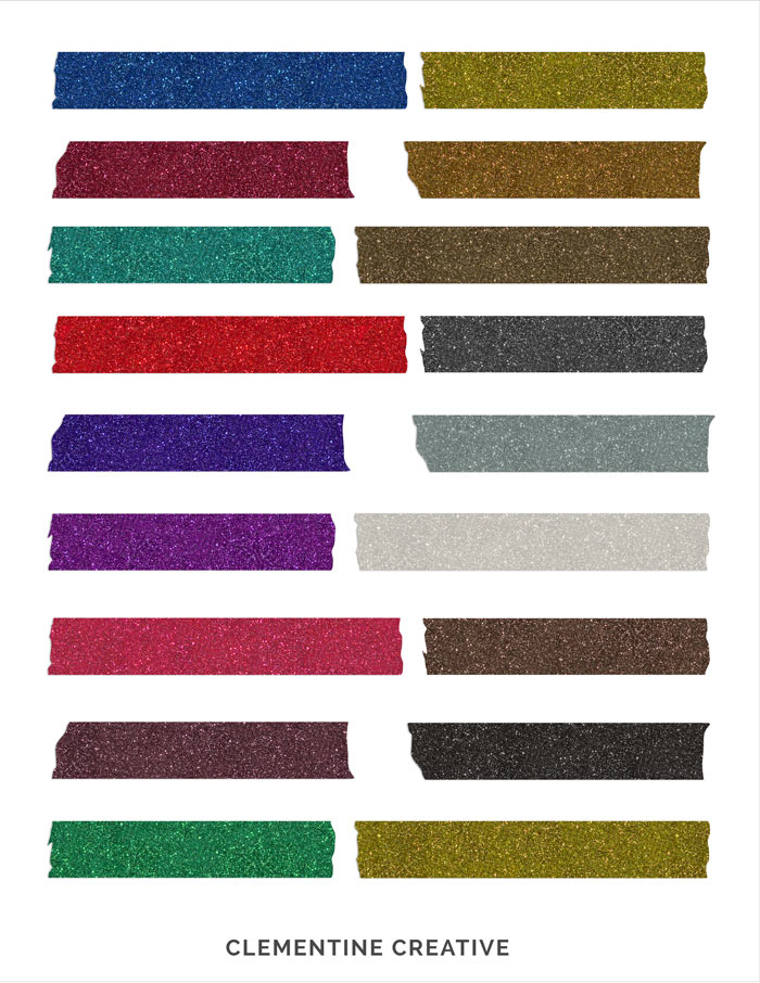 free digital glitter tape strips