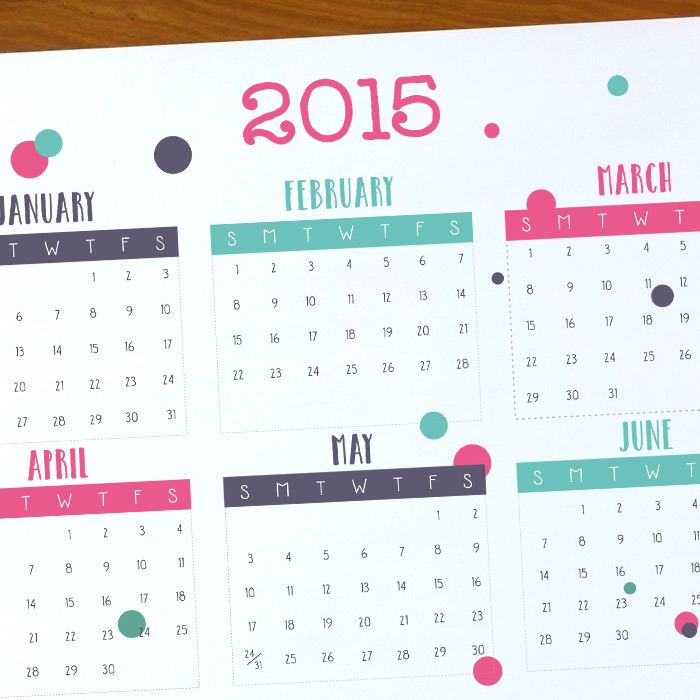 Free, Premium Calendar Template 2015