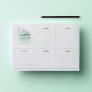 stylish printable weekly planner with calligraphy and watercolour