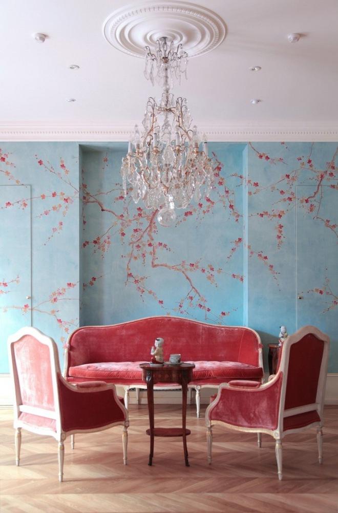 blue and marsala living room
