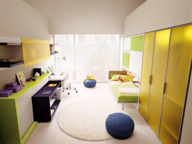 lime green room with blue seating