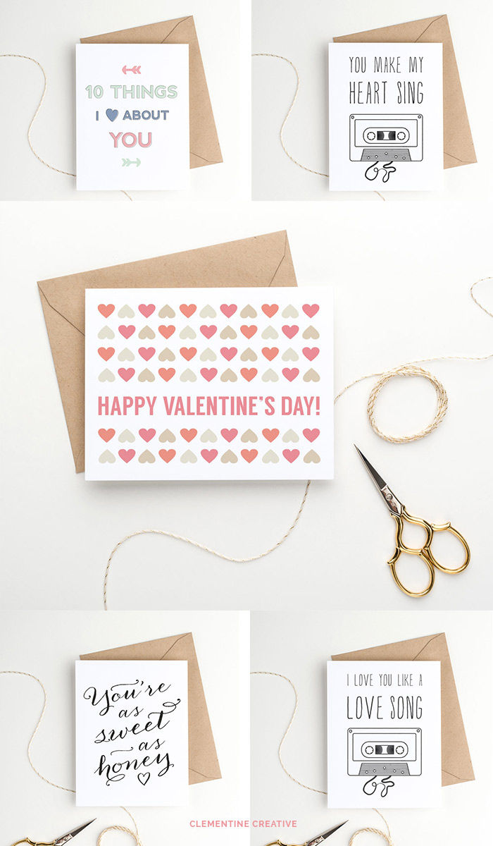 sweet and fun printable valentine's day cards