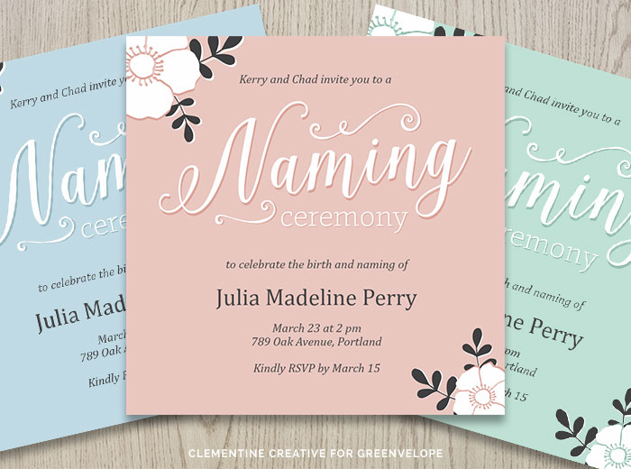 New stationery designs for greenvelope 260215 clementine baby naming ceremony cards stopboris Choice Image