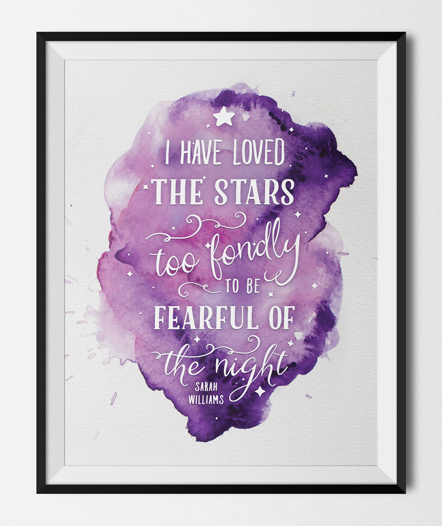 printable art print loved the stars quote by sarah williams. Black Bedroom Furniture Sets. Home Design Ideas
