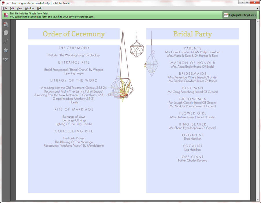 ... Wedding Programs / Printable Wedding Program – Stylish Succulents