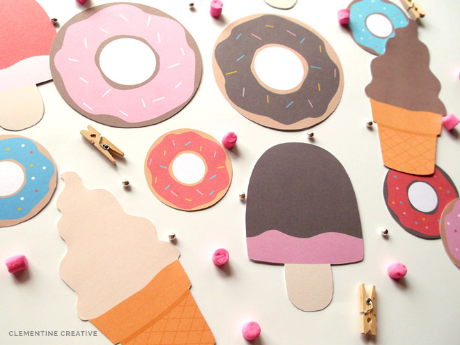 free printable ice-creams and doughnuts