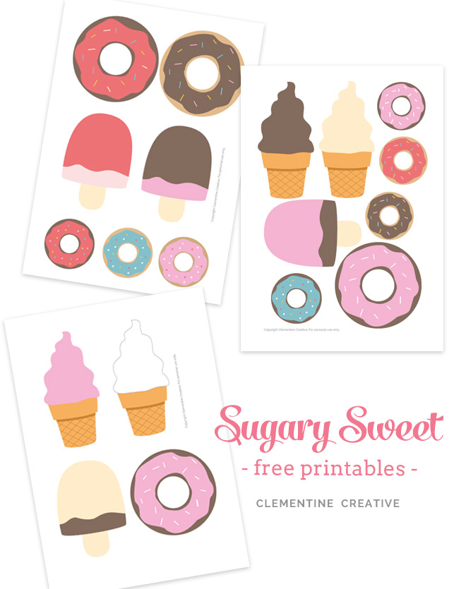 free printable doughnuts and ice-creams