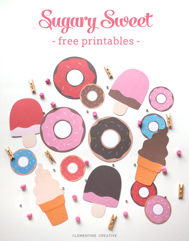 free printable ice-creams and doughnuts