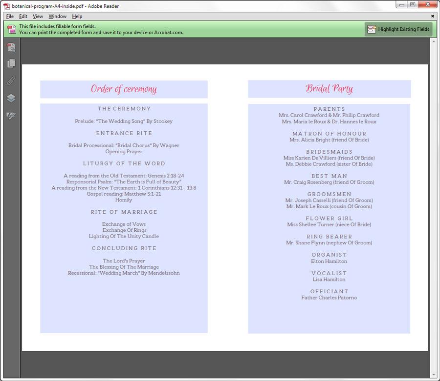 ... Wedding Programs / Printable Wedding Program – Botanical {Spring