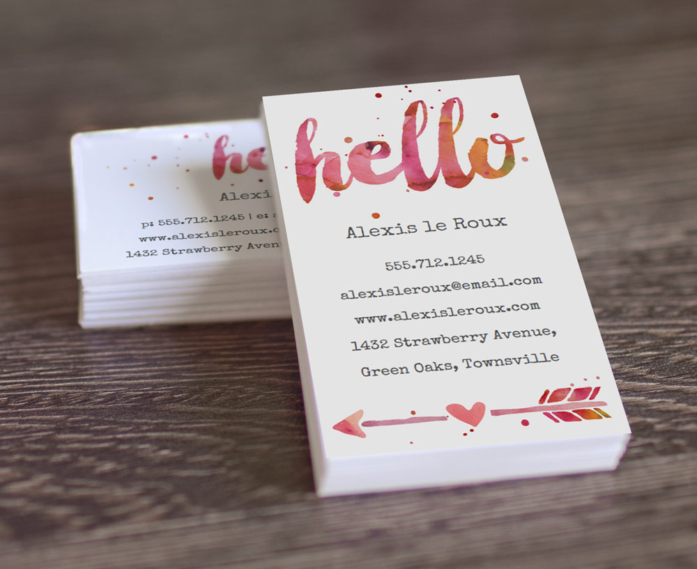 ... home printable business cards printable calling card painted hello