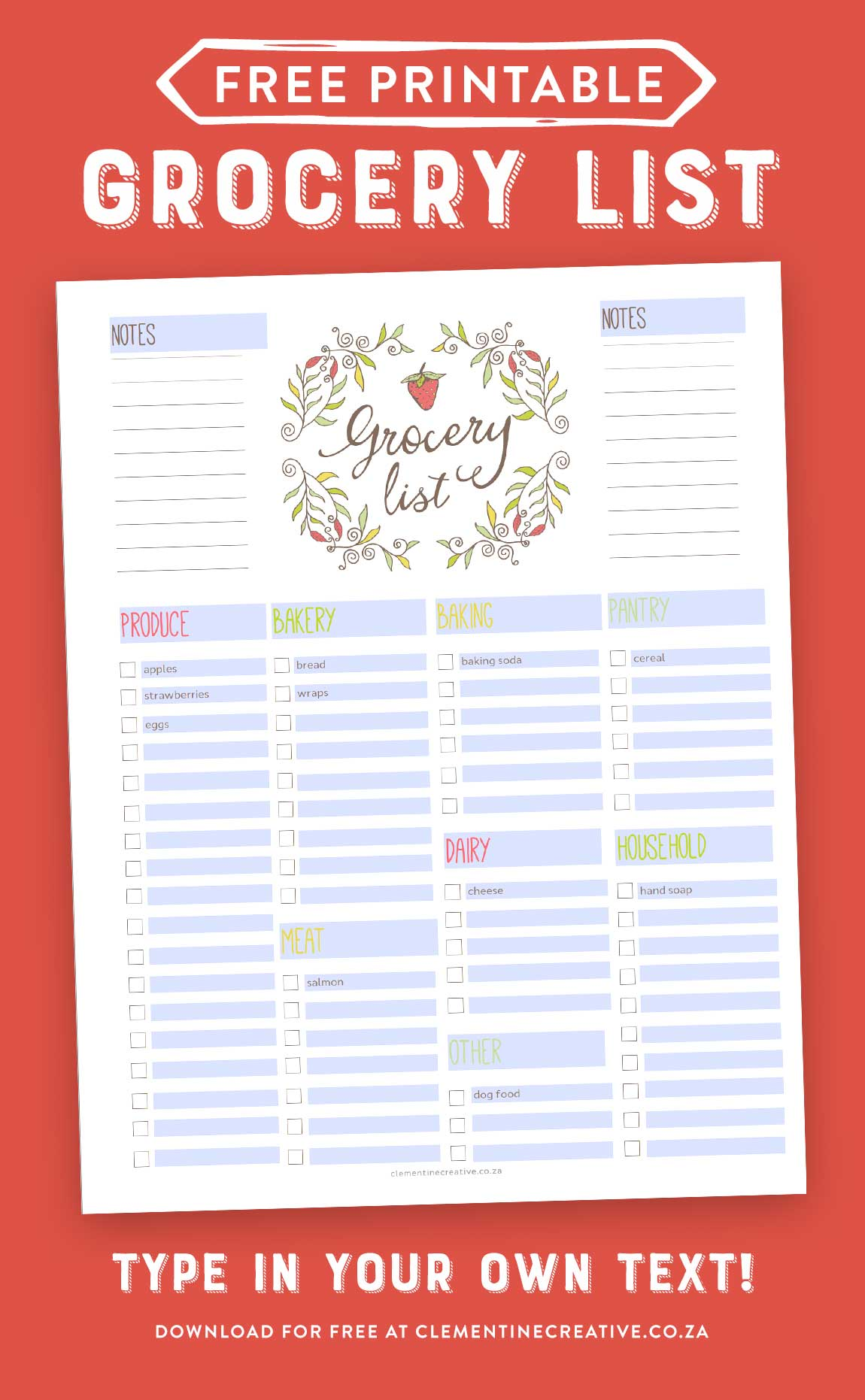 free printable editable grocery list with text boxes you can type your own text in