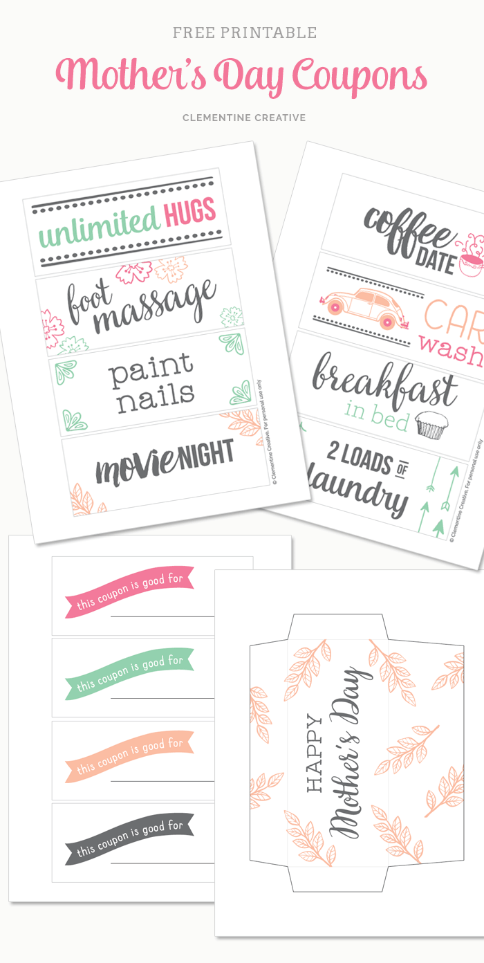 Free Printable Mother\'s Day Coupons to make Mom\'s day
