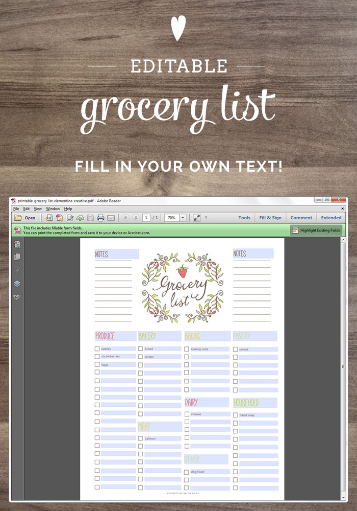 free printable grocery list - a fillable PDF file