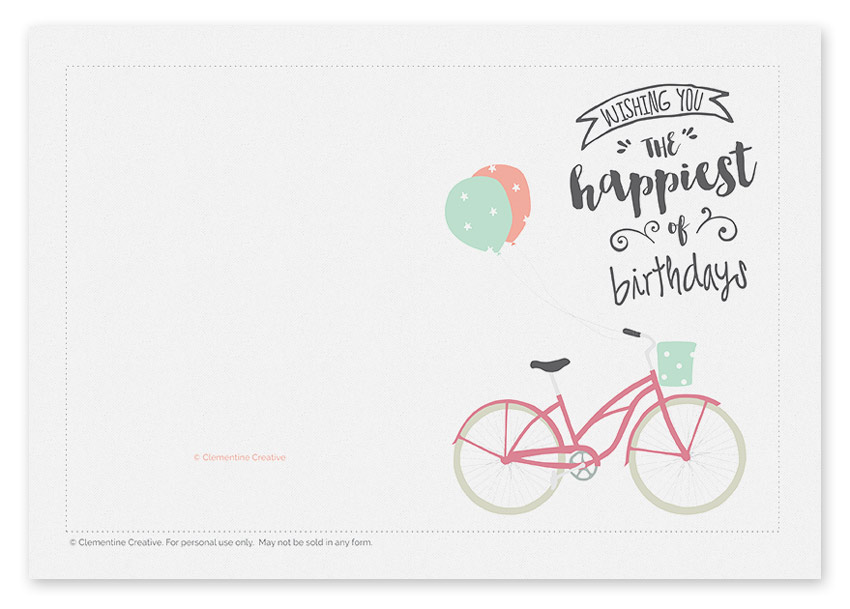 printable birthday card  bicycle with balloons, Birthday card