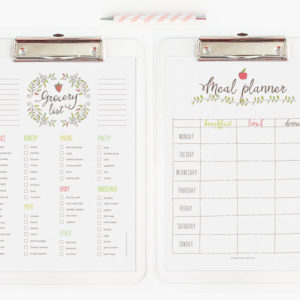 printable editable grocery list and meal planner